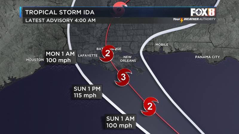 Ida is expected to be a Category 3 hurricane by landfall