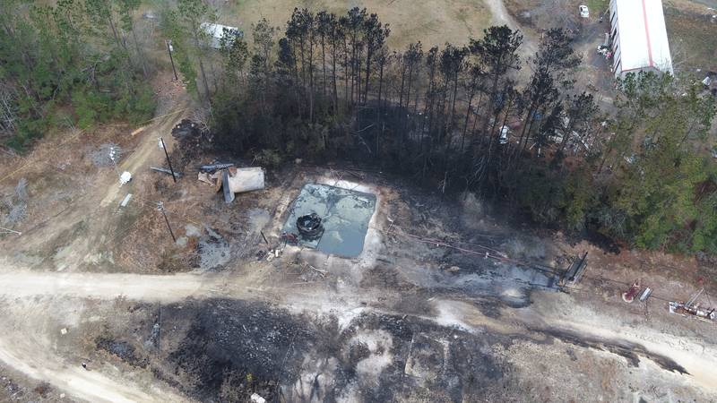 The view from a Louisiana State Police drone shows the aftermath of the explosion that took the...
