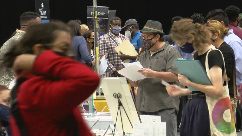 Job seekers fill the Smoothie King Center applying for jobs across the hospitality industry.