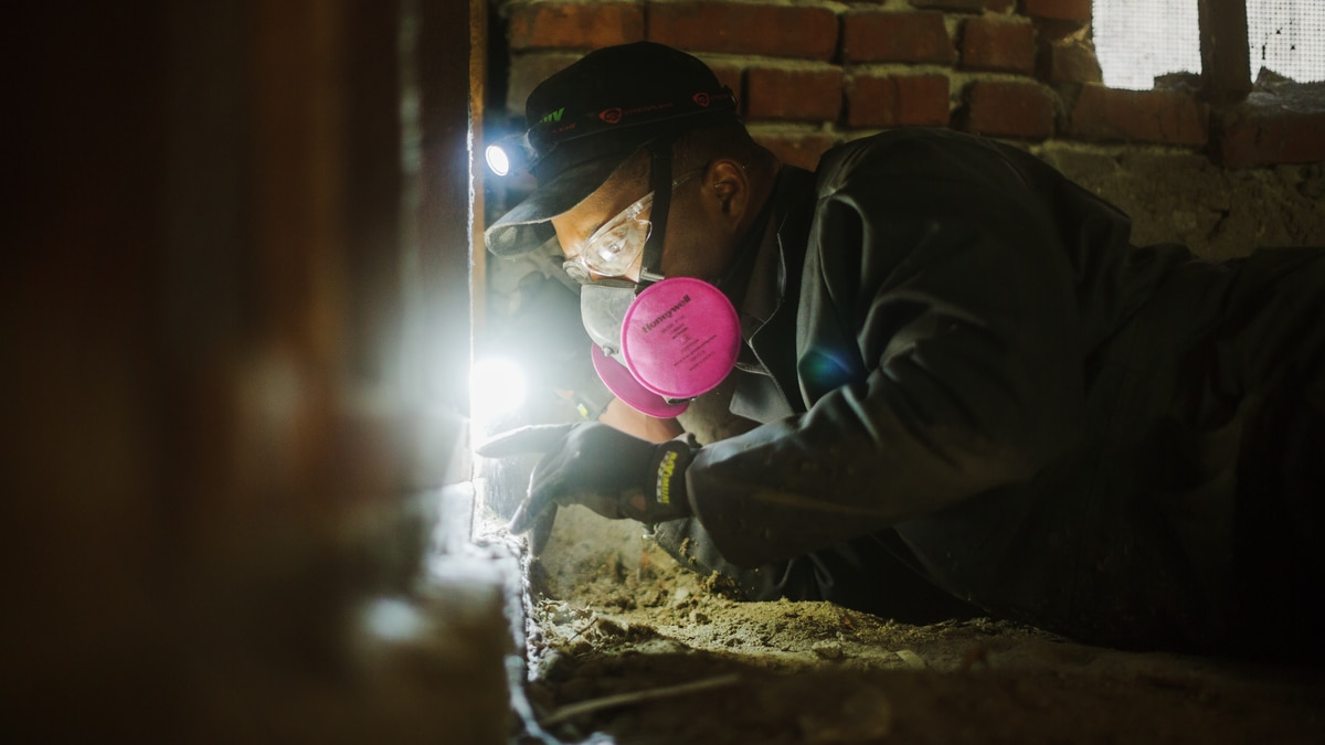 A worker inspects a crawl space for signs of termites. (Source: Terminix)