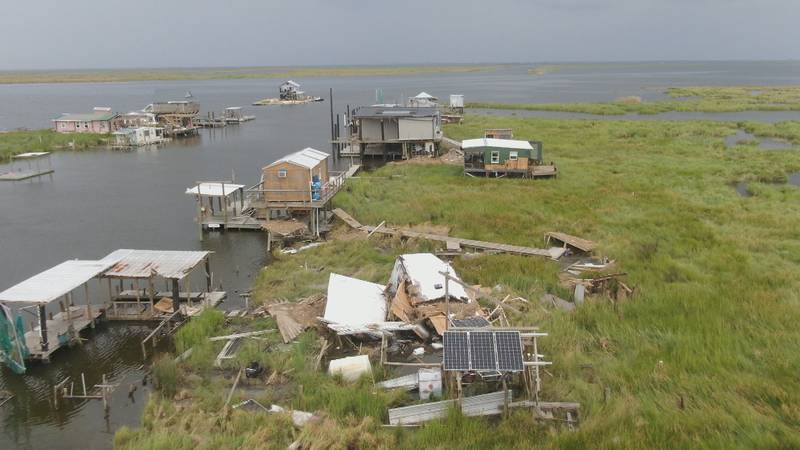 Camps along the Wilkinson Canal in Plaquemines Parish following Hurricane Ida