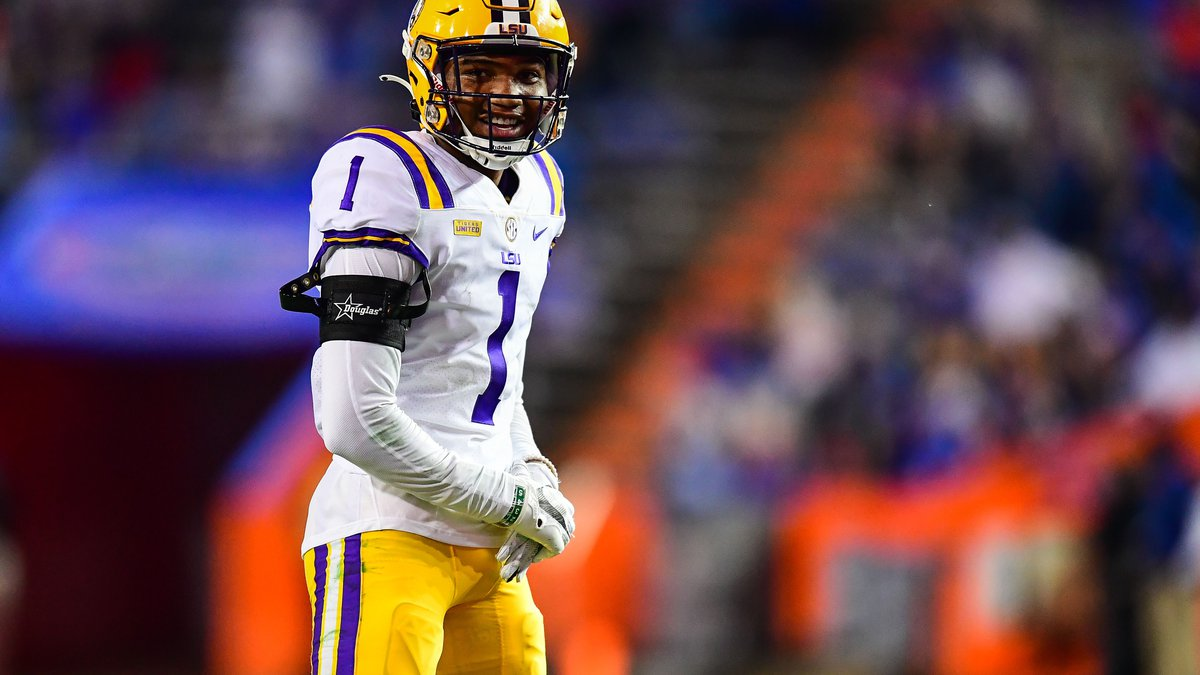 Elias Ricks of the LSU Tigers during a game against the Florida Gators at Ben Hill Griffin...