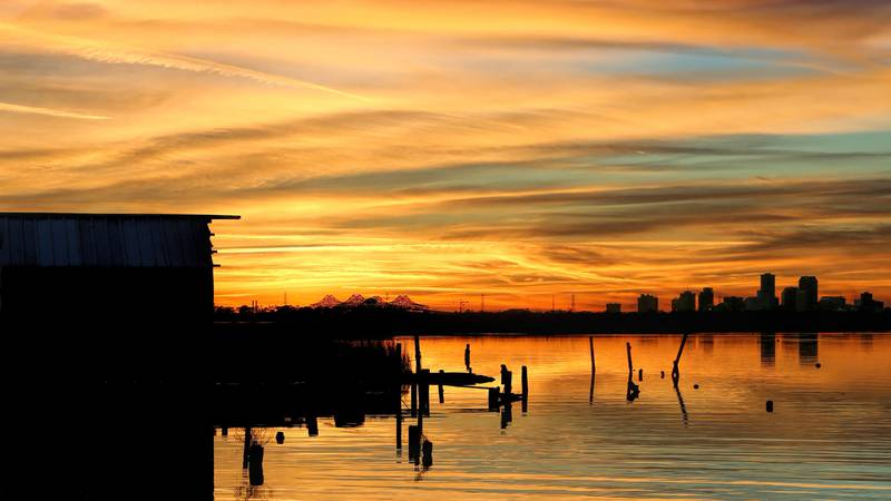 The sunset behind New Orleans as viewed from Bayou Bienvenue near Chalmette