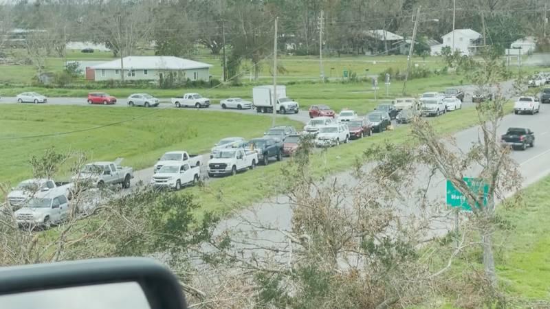 Traffic piles up along La. Hwy 1 in Lafourche Parish