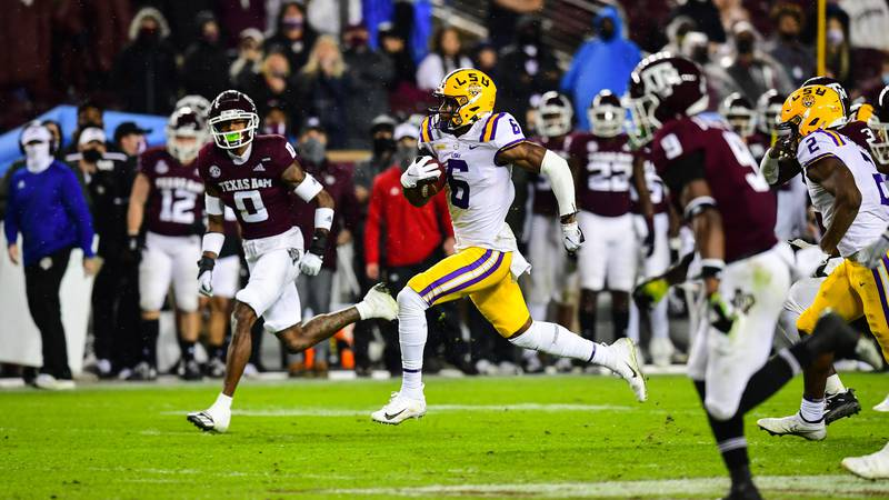 Terrace Marshall Jr. of the LSU Tigers during the second half of a game against the Texas A&M...
