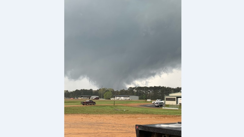 This image shows a tornado south of U.S. 84 in Lincoln County.