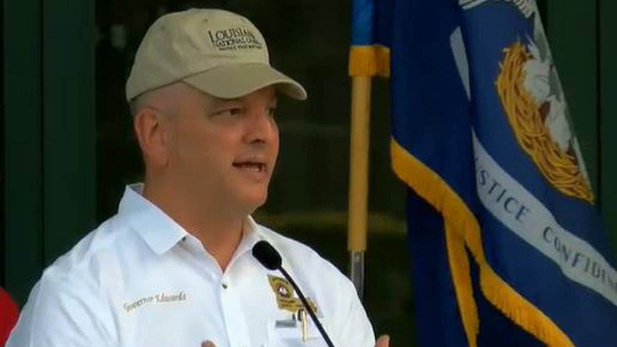 Governor Edwards spoke to the media live from outside the New Orleans Ernest N. Morial...