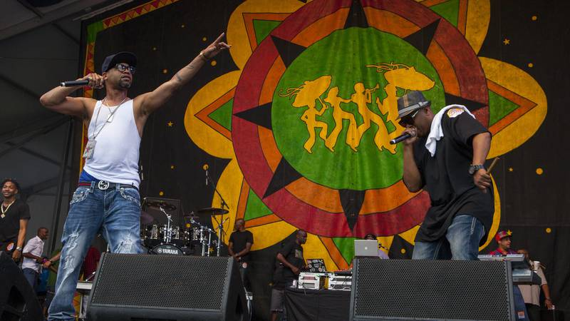 Juvenile performs with Mannie Fresh at the New Orleans Jazz & Heritage Festival, on Saturday,...