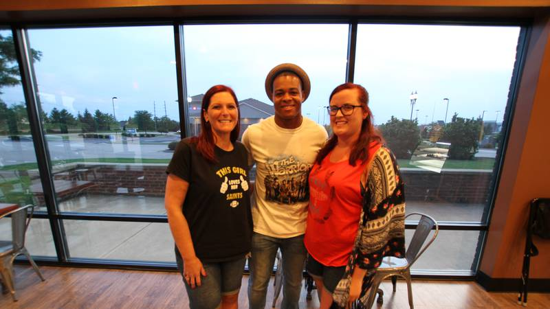 Pierre Thomas begins his fan tour with Jennifer and Abigail Mayfield in Indiana.
