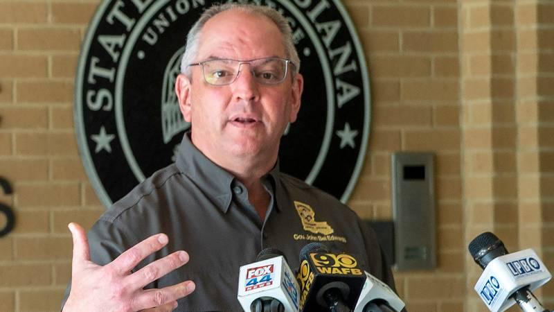 Louisiana Gov. John Bel Edwards talks about Hurricane Delta damages before flying to southwest...