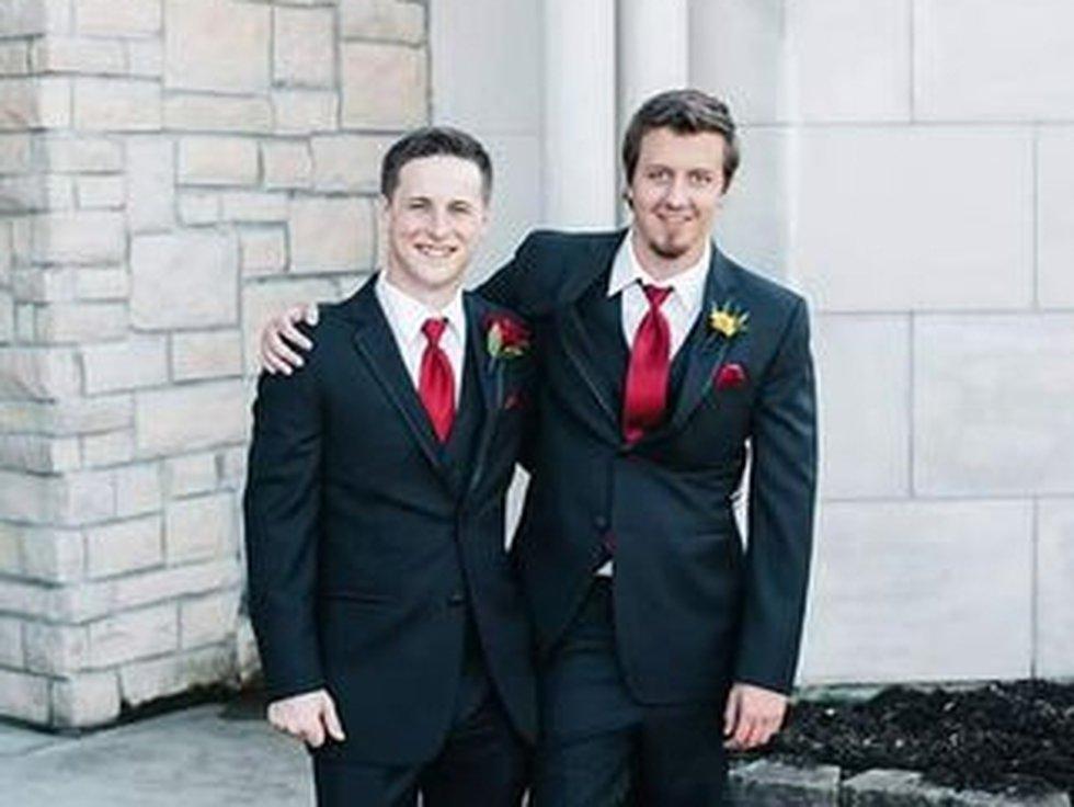 Jason Krell (right) on his childhood best friend's wedding day.