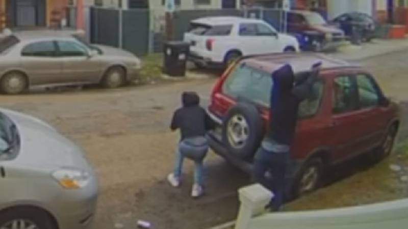 Surveillance video shows three young people walk down the 1600 block of Marigny Street in St....