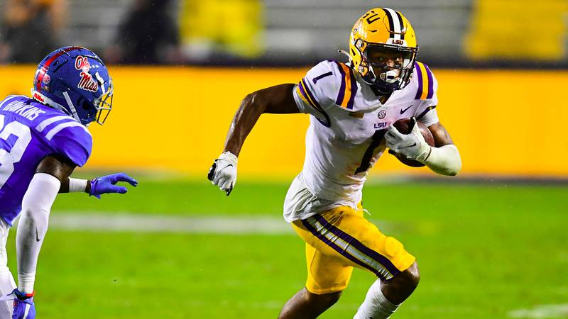 LSU Tigers during a game against the Ole Miss Rebels at Tiger Stadium on 12 19, 2020 in Baton...