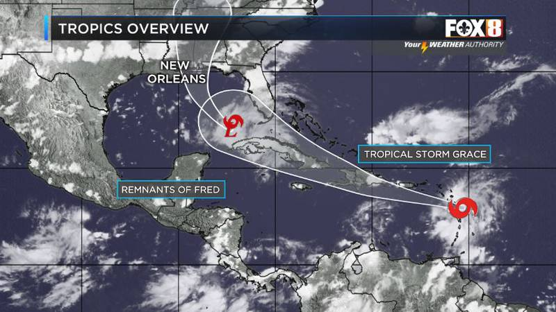 A weakend Fred moves into the Gulf and Grace just approaching the Caribbean on Saturday evening...