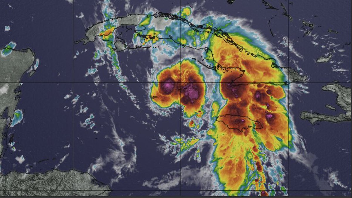 Infrared satellite image Friday morning August 27, 2021 as the storm approaches Cuba heading...