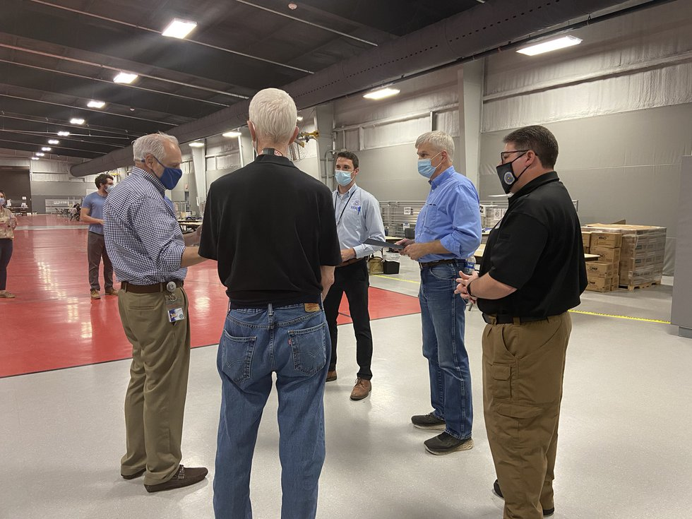 U.S. Sen. Bill Cassidy tours a FEMA Disaster Recovery Center in Plaquemines Parish.