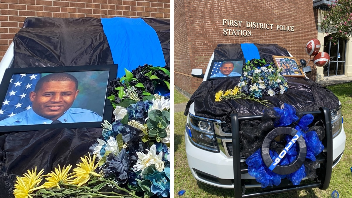 Det. Everett Briscoe's unit was decorated with flowers, a photo, and a flag.