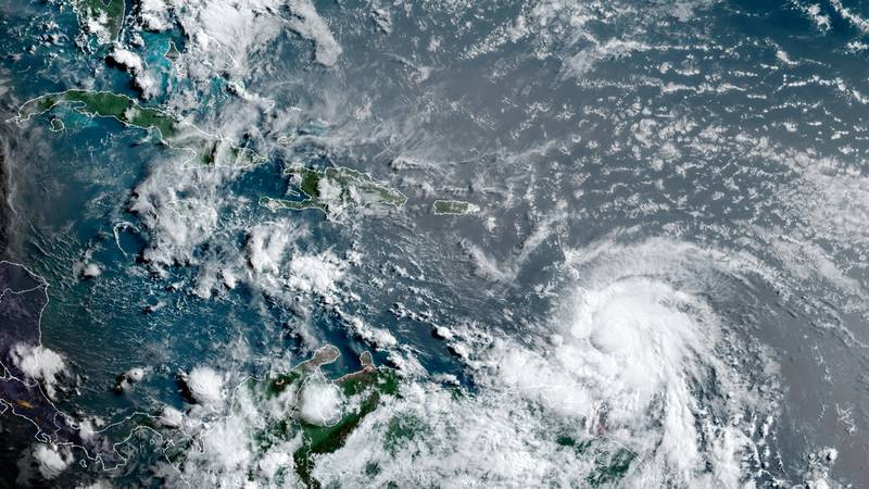 This satellite image provided by the National Oceanic and Atmospheric Administration shows...