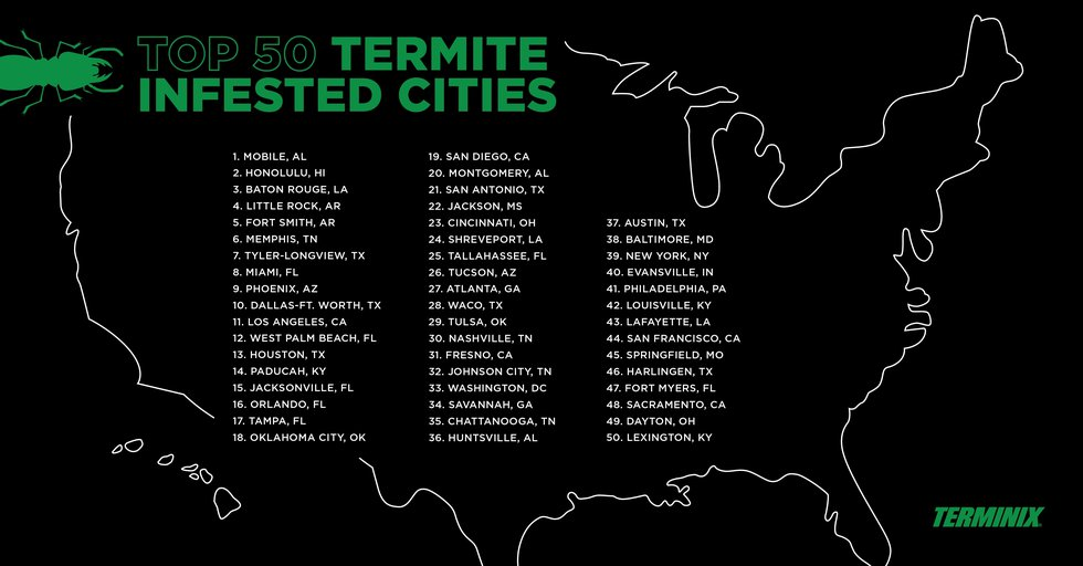 Terminix's top 50 cities for termite infestations