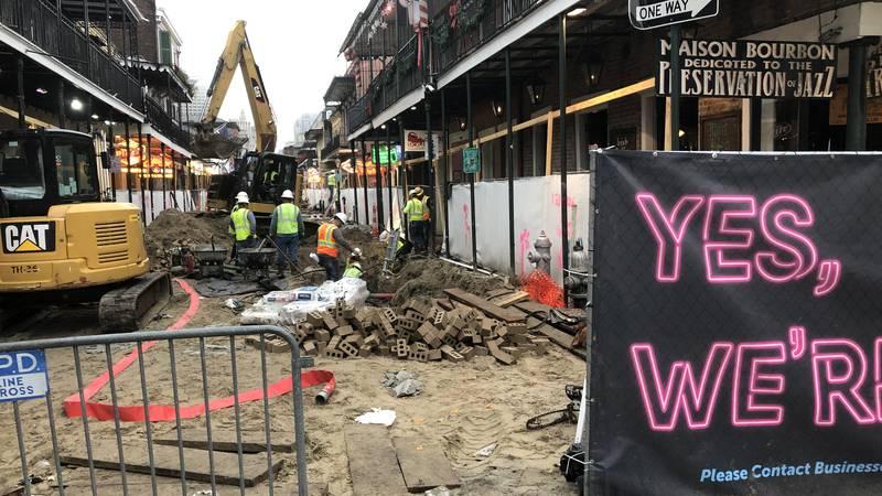 Construction on the 600 block of Bourbon Street.