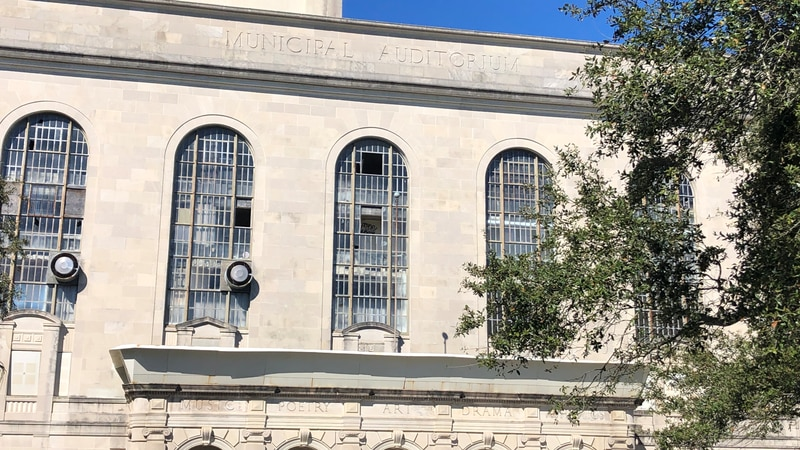 The New Orleans municipal auditorium sits vacant.