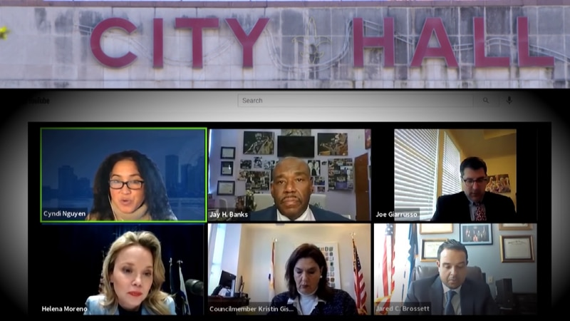 Members of the New Orleans City Council participate in a virtual meeting in January 2021.