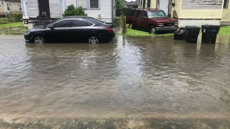 Rounds of heavy rain caused street flooding in Mid-City