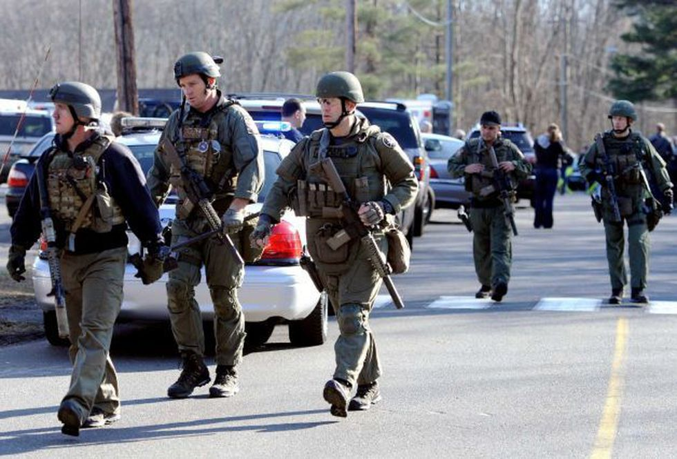 State Police are on scene following a shooting at the Sandy Hook Elementary School in Newtown,...