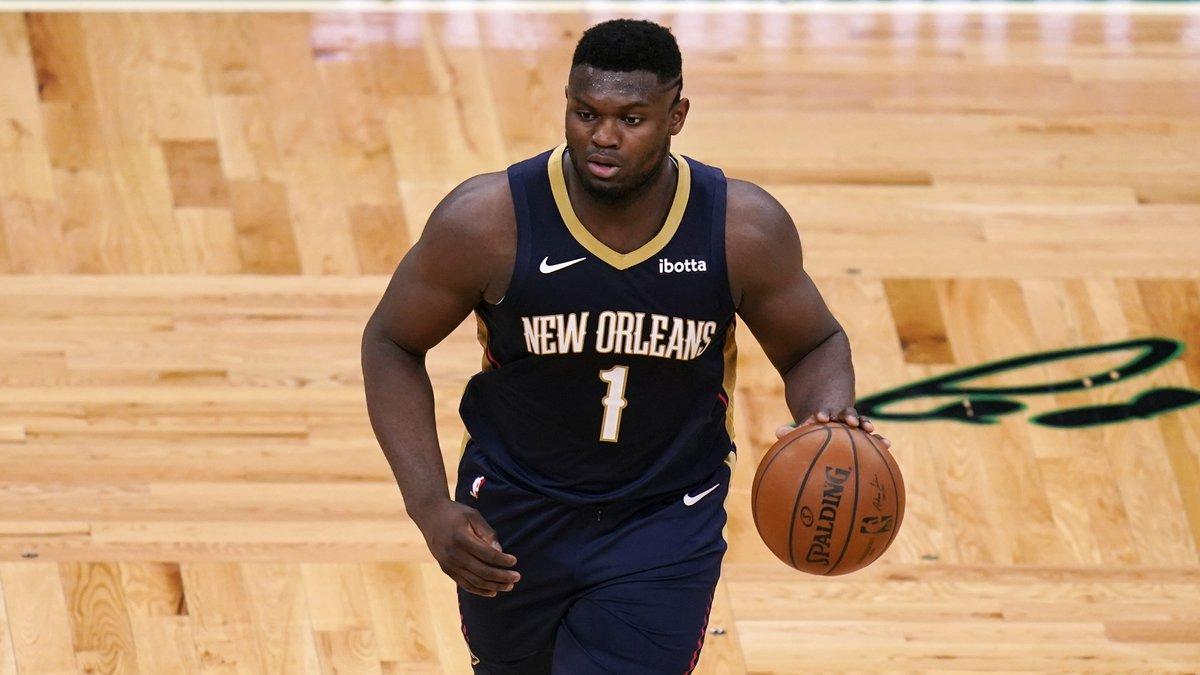 New Orleans Pelicans forward Zion Williamson (1) dribbles during the second half of an NBA...