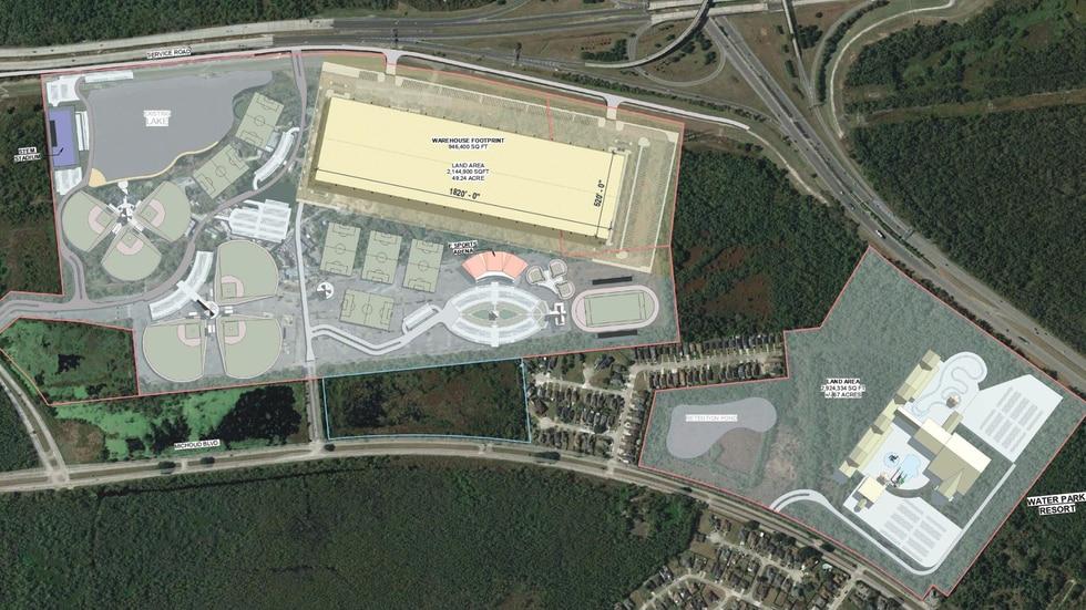 The Bayou Phoenix development consists of a hotel, sports complex, amusement park, water park,...