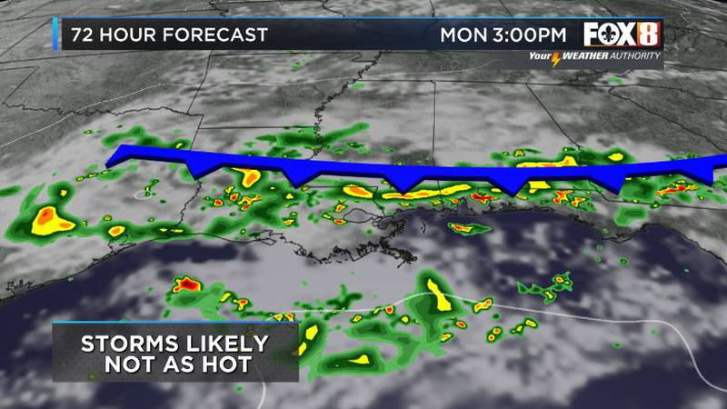 A front approaching to start the week should bring in more rain and possibly some drier weather...