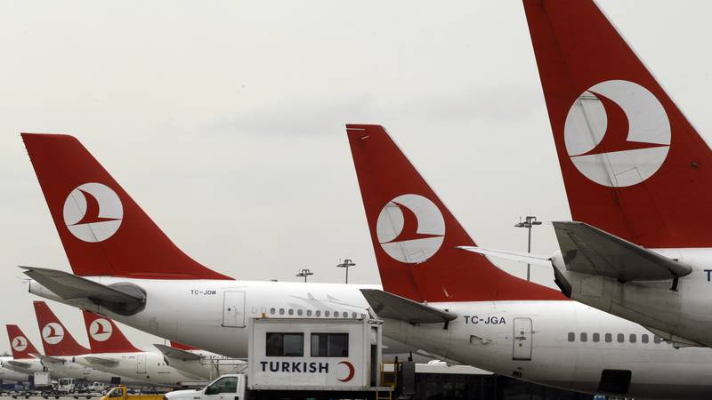 FILE - In this Dec. 27, 2008, file photo, Turkish Airlines aircraft are seen on the tarmac at...