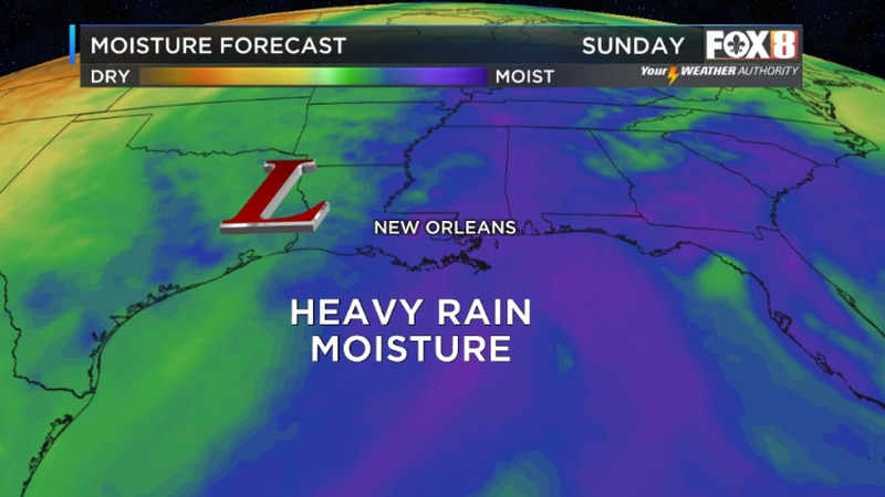 Heavy down pours possible through the weekend as circulation around an upper low over Texas...