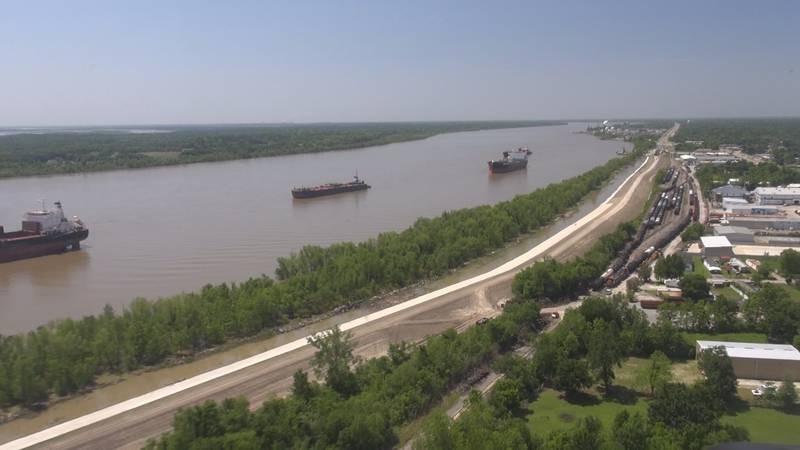 River traffic near the site of the propopsed Mid-Barataria Sediment Diversion on the...