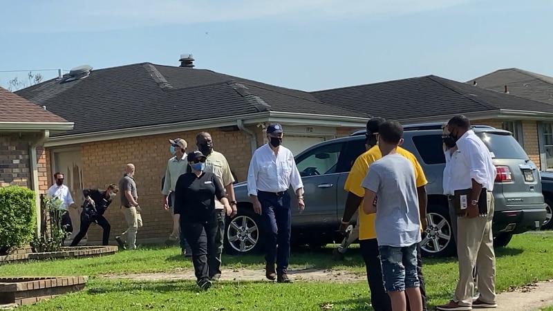 President Joe Biden walked a LaPlace neighborhood to meet residents whose property was damaged...